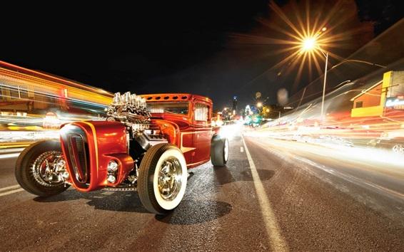 Wallpaper Retro car, road, night