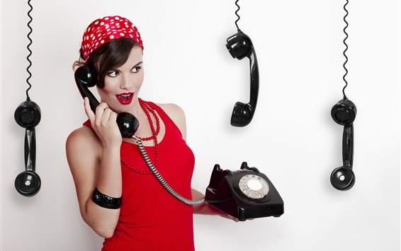 Wallpaper Retro style, red dress girl use telephone