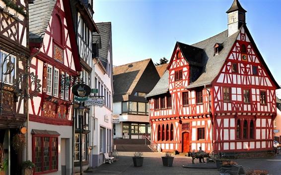 Wallpaper Rhens, Germany, houses, street, sunshine
