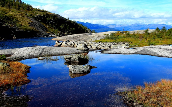 Wallpaper River, mountains, stones