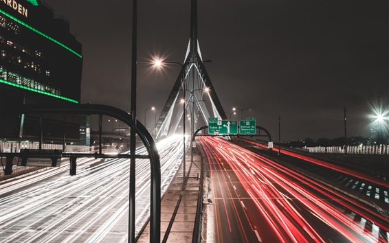 Wallpaper Road, light lines, bridge, city, night