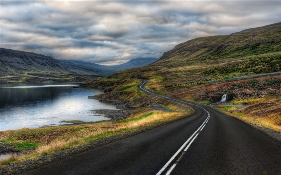 Wallpaper Road, river, grass, mountains, clouds