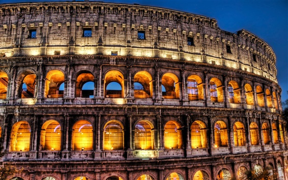 Обои Римский Колизей ночью, огни