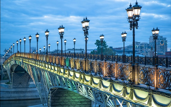 Papéis de Parede Rússia, ponte, luzes, crepúsculo, Moscou