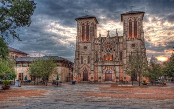 Fondos de pantalla San Antonio, Texas, edificios, puesta de sol, nubes