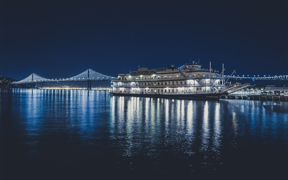 Wallpaper San Francisco Belle ship, sea, bridge, night, lights