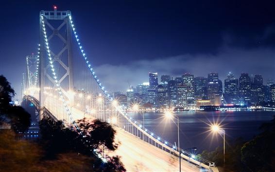 Fond d'écran San Francisco, pont, lumières, éclairage, nuit