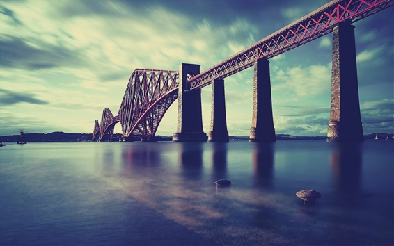 Wallpaper Scotland, Forth Rail Bridge, sea, railway