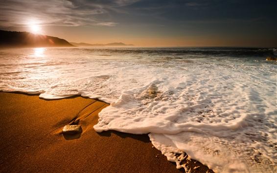 壁紙 海、海岸、海岸、波、泡、日没