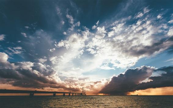 Wallpaper Sea, bridge, clouds, sun rays, sunset