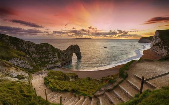 Wallpaper Sea, coast, arch, beach, ladder, sunset