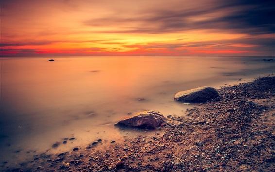 Wallpaper Sea, red sky, coast, stones, sunset