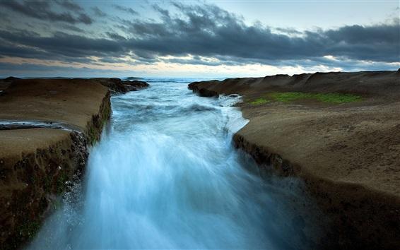 Wallpaper Sea, river, stream, clouds, dusk