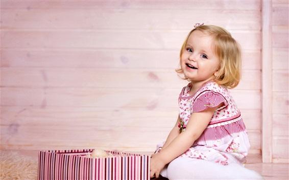 Papéis de Parede Cabelo curto menina, sorriso, criança