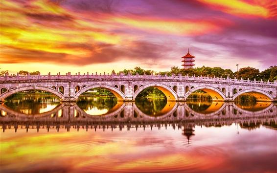 Wallpaper Singapore, Chinese Garden, bridge, lake, beautiful sunset