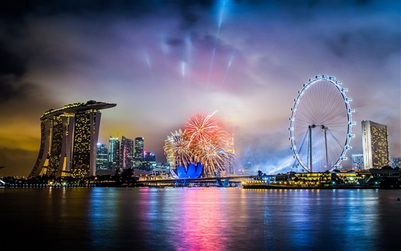 Wallpaper Singapore, city night, fireworks, sea, ferris wheel, skyscrapers, lights