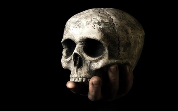 Fond d'écran Crâne, main, fond noir