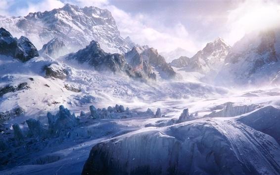 Обои Снег, горы, холод, ветер