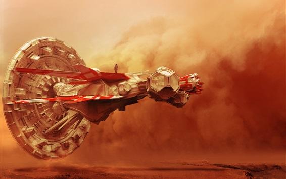 Wallpaper Spaceship, clouds, desert, creative design