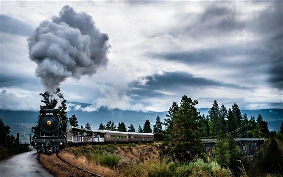 Wallpaper Steam train, smoke, bridge, clouds