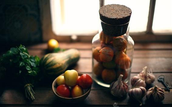 Fond d'écran Nature morte, ail, tomates, fenêtre