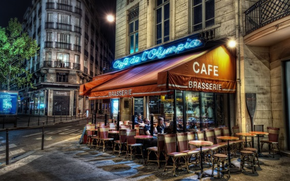 Wallpaper Street of Paris, cafe, table, people, night, lights