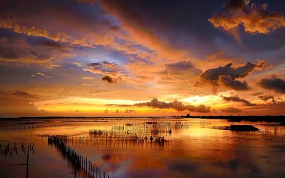 Wallpaper Sunset, sea, fence, clouds, beautiful nature landscape