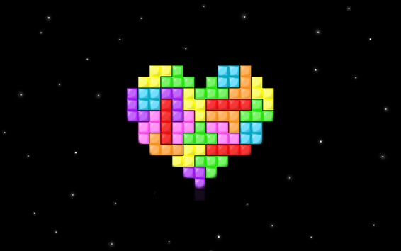 Wallpaper Tetris love heart, space