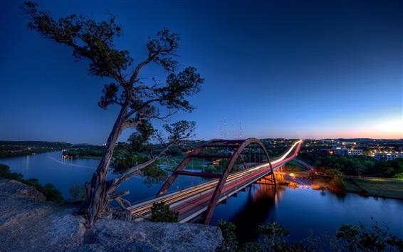 Fondos de pantalla Texas, Austin, Pennybacker Puente, río, ciudad, luz, Estados Unidos