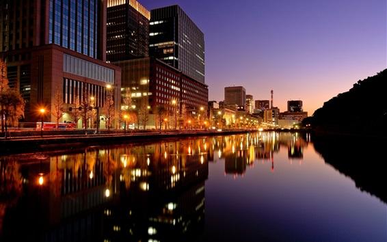 壁紙 東京都、夜の街、建物、ライト、川、日本