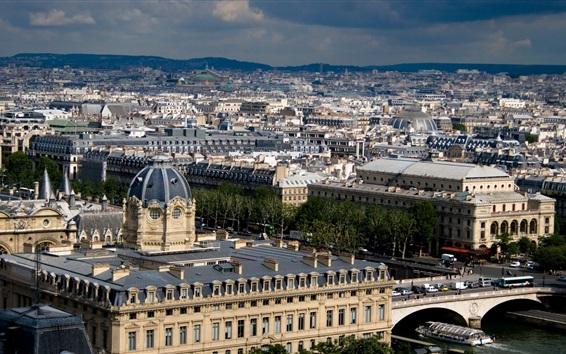 Papéis de Parede Vista superior Paris, casas, cidade, França