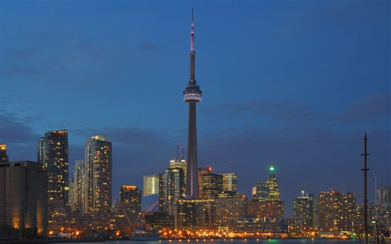 Wallpaper Toronto, Canada, buildings, lights, city, night, tower