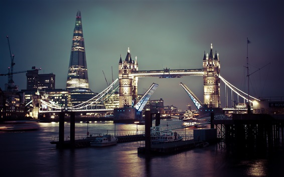 Wallpaper Tower Bridge, river, boats, night, city, London
