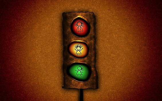 Wallpaper Traffic light, red yellow and green