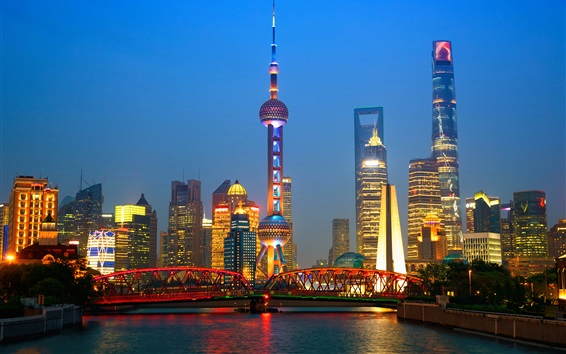 Wallpaper Travel to Shanghai, China, night, skyscrapers, tower, lights, river
