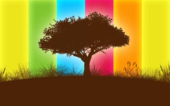 Papéis de Parede Árvore, fundo colorido, sombra