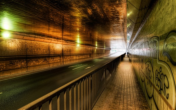 Wallpaper Tunnel, road, lights