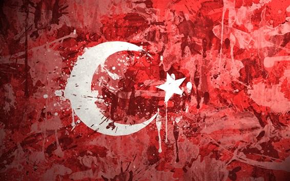 壁紙 トルコの旗、絵