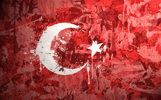 Papéis de Parede Bandeira de Turquia, pintura