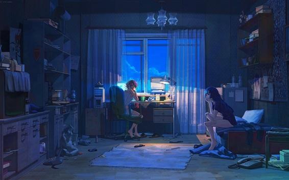 Wallpaper Two anime girls in room