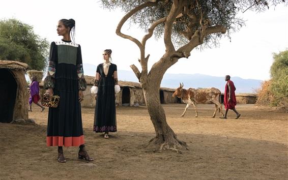 Papéis de Parede Duas meninas da forma, África