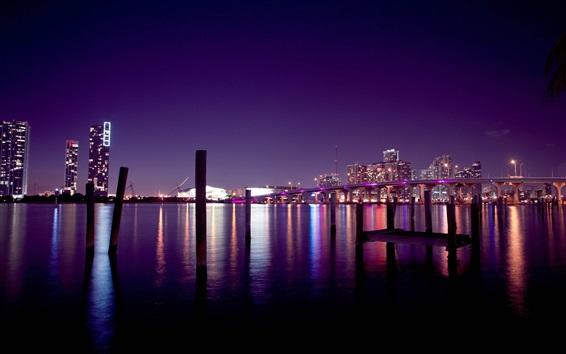 Wallpaper USA, Miami, bridge, river, night, skyscrapers, lights