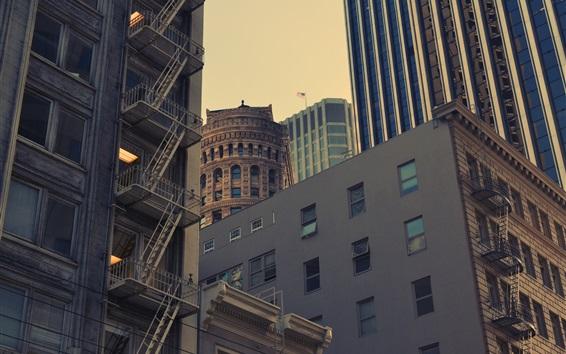 Fond d'écran USA, ville, gratte-ciel, crépuscule