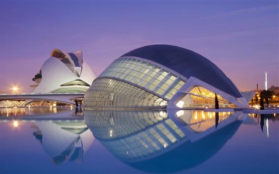 Papéis de Parede Valencia, Espanha, edifícios, água, luzes, noite