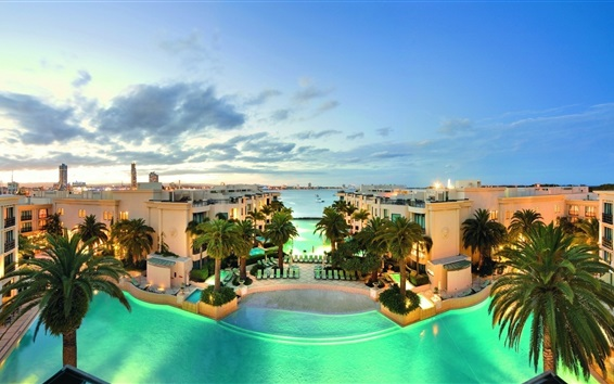 Wallpaper Villa, houses, sea, swim pool, palm trees, dusk