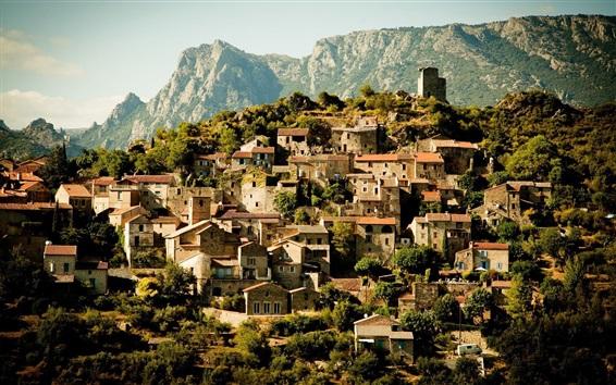 Обои Деревня, дома, возвышенность, деревья, горы, Франция