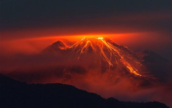 Papéis de Parede Vulcão, montanha, lava, noturna