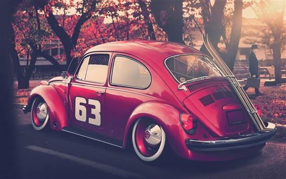 Papéis de Parede Carro vermelho do besouro de Volkswagen