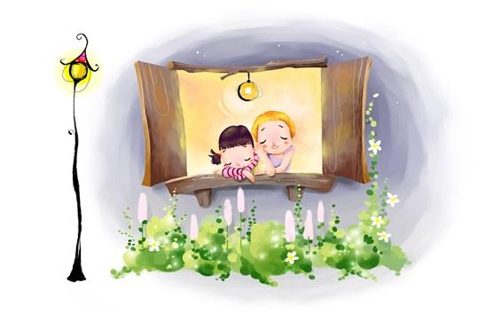 Papéis de Parede Desenho de aquarela, criança feliz, sonho, janela, casa, lâmpada