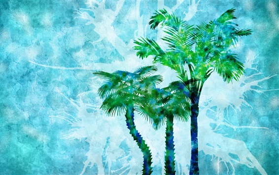 Wallpaper Watercolor painting, palm trees